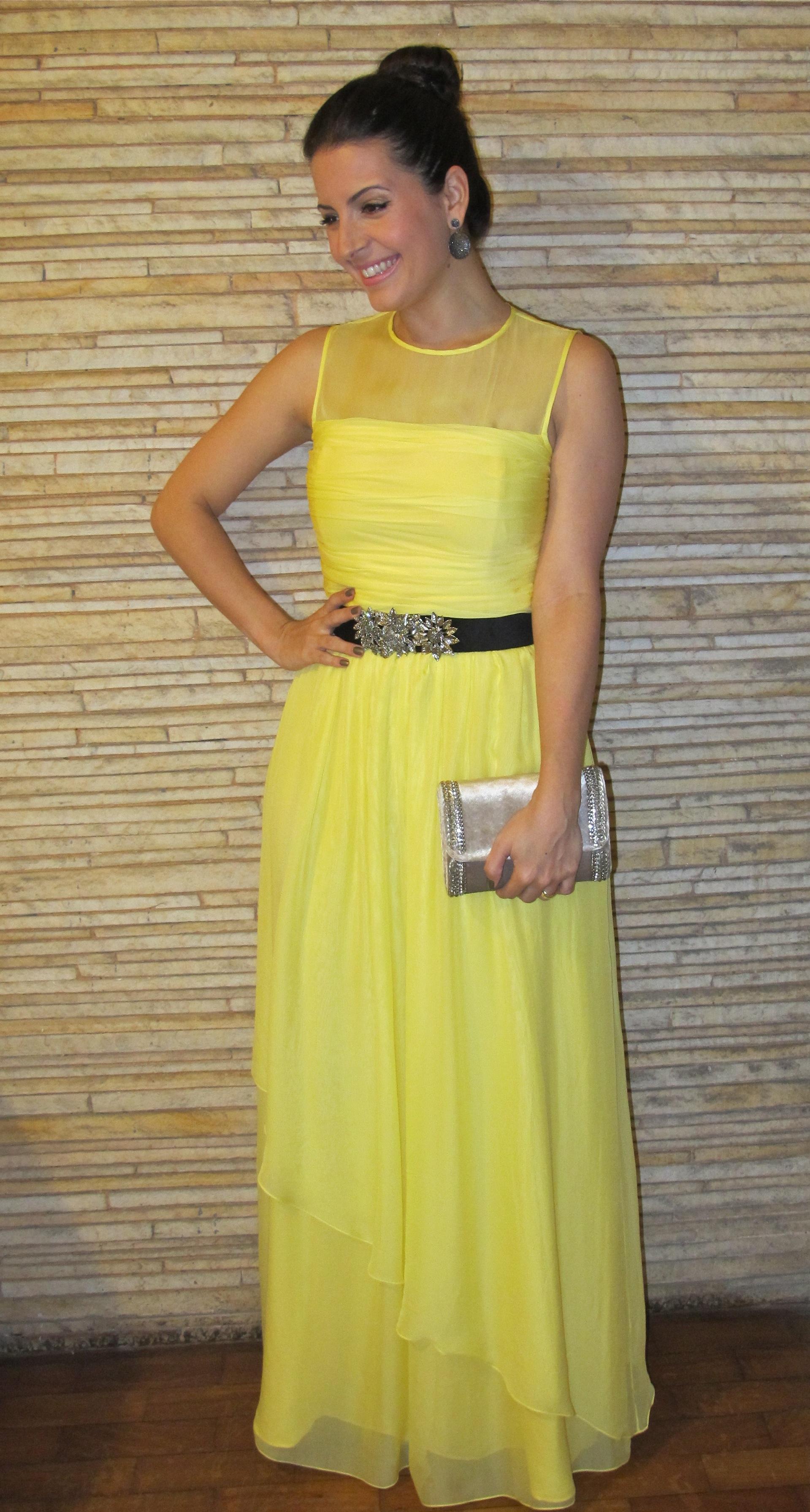 Look Casamento Vestido Longo Amarelo Love Shoes
